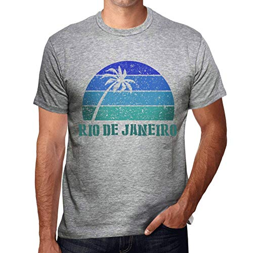 One in the City Hombre Camiseta Vintage T-Shirt Gráfico Rio DE Janeiro Sunset Gris Moteado