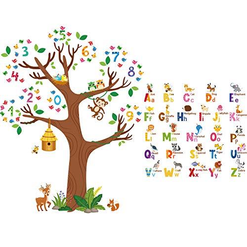 3 Fogli Decalcomanie da Muro con Alfabeto di Animali e Albero dei Numeri Adesivi Murali Sbucciare e Attaccare Lettere ABC e Numeri Uccelli per Camera da Letto Bambini Soggiorno Classe