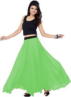 Women's Faux Georgette Regular Fit Plain Skirt (SGLS36_0001)