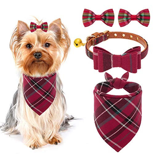 Bow Tie Dog Collar with Bell - Classic Plaid Bandana Triangle Bibs Scarf Accessories with 2 Pack Pet Hair Bows, Red
