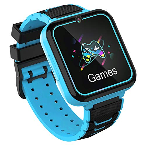 Kinderspiele Smart Watch Phone, HD Touchscreen Smartwatch für Kinder mit Musik Player Zwei-Wege-Anruf SOS Taschenlampe Rechner Rekorder Wecker, Geburtstagsgeschenke für 3-12Y (BLAU)
