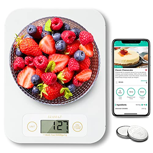 Smart Food Scale - Bluetooth Digital Kitchen Scale with Nutritional Calculator, Food Cooking Scale with Smartphone APP for Keto, Macro, Calorie, Weight Loss