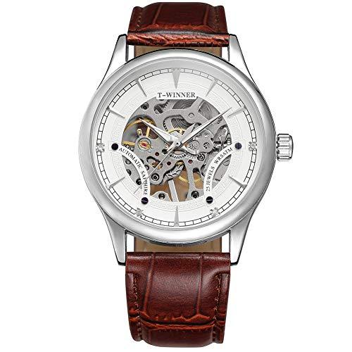 RONSHIN Horloges, Mannen Winnaar A708 Volledige Hollowout Automatische Mechanische Horloge met Lederen Band