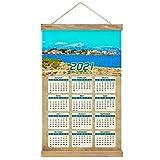 España Playa de Alcudia Mallorca Imprimir Póster Calendario de Pared 2021 12 Meses Pintura decorativa Cuadros Colgantes Lienzo Madera 20.4 'x 13.1' GL-Spain-5220