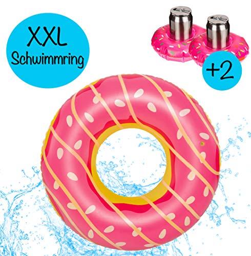 L+H Riesen XXL aufblasbarer Donut in Premium QUALITÄT │ Pink │ inkl 2X aufblasbaren Getränkehalter für Getränke oder Cocktails │ Durchmesser 125cm │ Schwimmring Schwimmreifen für den Pool