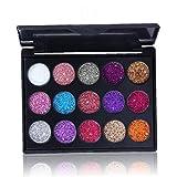 FeelMeet 1set del Brillo Paleta de Sombra de Ojos 15 Colores de Sombra de Ojos Brillante y pigmentada Mineral Polvo Compacto Lentejuelas Sombra de Ojos chispeantes Ojos Maquillaje (01)