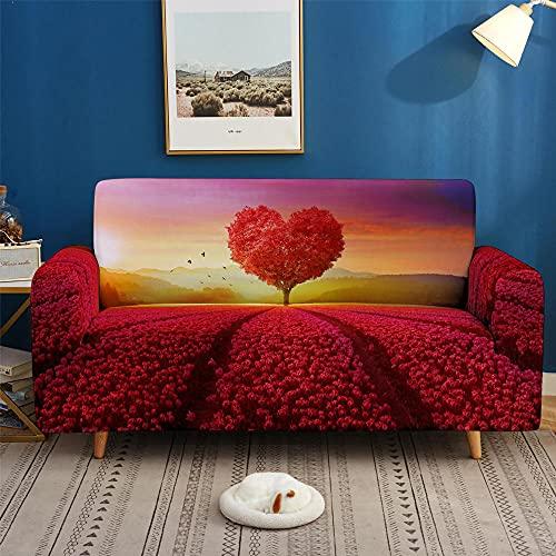 Stretch Sofa Schonbezug Bedruckte Sofabezug für Wohnzimmer Home Decor Bohemian Couch Bezug L Form 1/2/3/4 Sitzer Waschbarer Sofa Protector-Love_2-Seater(145-185cm/57-73inch)