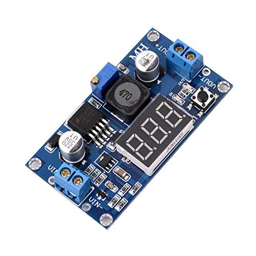 SainSmart LM2596 Adjustable Voltage Regulator 4.0-40V to 1.25-37V DC 36V to 24V to 12V to 5V Variable Volt Power Supply Car Motor Buck Step Down Converter with Red Voltmeter Display