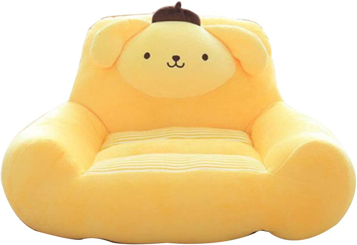 Bean Bag Chair for Kids, Mini Plush Chair Armchair Prevent Fall Removable Washable Cartoon Lazy seat-Yellow S