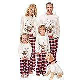 Pijamas navideños Familiares Xmas Deer Print Adultos Mujeres Niños Ropa Familiar a Juego Pijamas navideños Conjunto Familiar (Niños, 8-9Años)