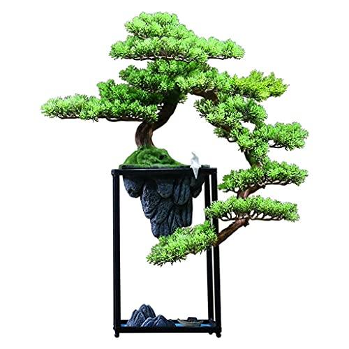 árbol bonsai artificial Árbol artificial Bonsai China Zen Paisaje Bonsai Decoración Rociado Soporte de metal blanco Cerámica Retrato Sala de estar y Oficina Decoración de escritorio Plantas y flores a