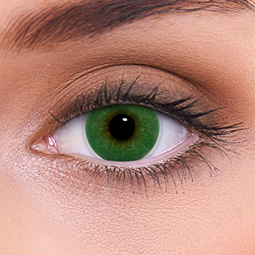 LENZOTICA Sehr stark natürlich deckende grüne Kontaktlinsen farbig ATLANTIS GREEN + Behälter von LENZOTICA I 1 Paar (2 Stück) I DIA 14.00 I ohne Stärke I 0.00 Dioptrien