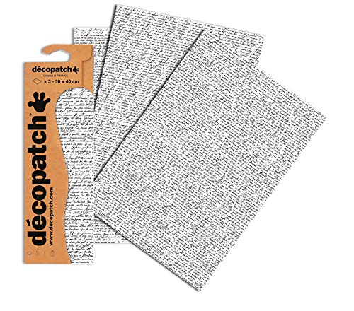 Decopatch Papier No. 771 (weiß schwarz Handschrift, 395 x 298 mm) 3er Pack