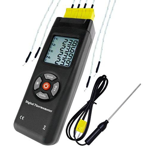 Termómetro De Termopar Tipo K De 4 Canales Digitales Con Sondas De Metal Y Perlas, De Mano Con Luz De Fondo, Medidor De Alta Temperatura Teste