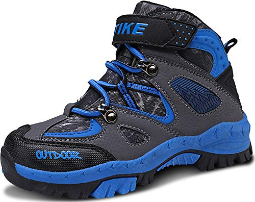 ASHION Kinder Winterschuhe Wanderschuhe Mid Schneestiefel Mädchen Trekkingl Stiefel Jungen Baumwollschuhe Warm Wanderstiefel(B Blau,32 EU)