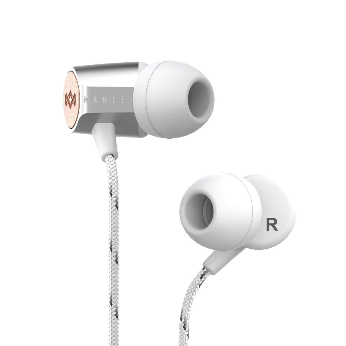 House of Marley Uplift 2.0  -  Sound In-Earヘッドフォン/ヘッドフォン、9 mmドライバー、ハンズフリーシリアルマイク、3つのサイズのイヤープラグを含む1つのボタンコントロール、ぴったりフィットEM-JE091-SV