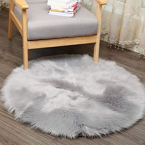 PULABOSupersoft - Funda para silla de piel de oveja, funda de asiento de felpa, felpa, felpa, alfombra de acento gris, 1 pies x 1 pies, cómoda y respetuosa con el medio ambiente