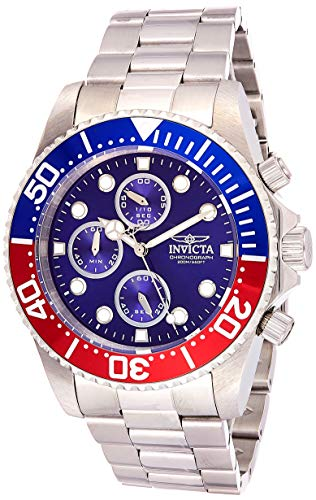 Invicta Men's Pro Diver 43mm Stainless Steel Quartz Watch, Silver (Model: 1771)