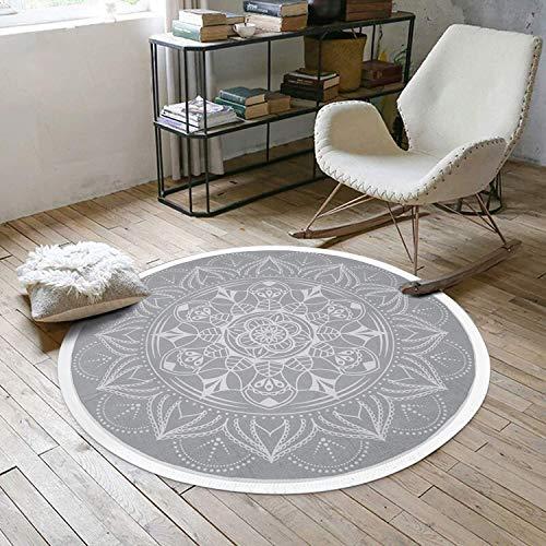 Pauwer Runder Teppiche Handgewebte Baumwolle Teppiche mit Quasten rutschfest Abwaschbar Teppiche für Wohnzimmer Schlafzimmer Kinderzimmer,120x120cm,Grau