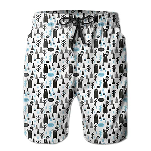 jiger Mens Beach Shorts Swim Trunks, Abstract Shapes with Retro Inspired Colors Flowers Squares Circles Hand Drawn Art,Summer Cool Quick Dry Board Shorts Bathing SuitXXL