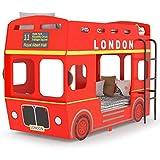 Tidyard Letto a Castello Autobus Londra Rosso in MDF 90x200 cm,Include Scala Laterale