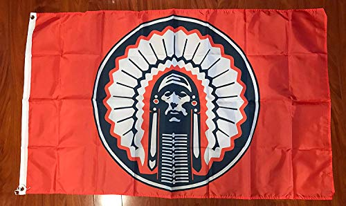 ORANGE Illinois Fighting Illini Chief Flag 3x5 feet NEW grommets - banner Bar Decor Man Cave