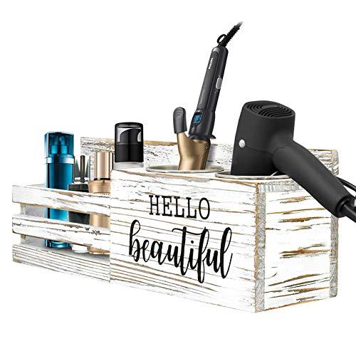 Holz-Organizer für Haartrockner, rustikaler Holz-Föhnhalter, Haarstyling-Pflege-Werkzeug, Badezimmer-Zubehör, Arbeitsplatte und Vanity Caddy Aufbewahrungsständer für Föhn, Glätteisen, Lockenstab