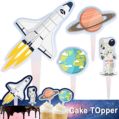 Rocket Cake Topper Acrylic Happy Birthday Space Ship Astronaut Star Theme Decor Picks for Baby Shower Birthday Party Decorations Supplies 5PCS