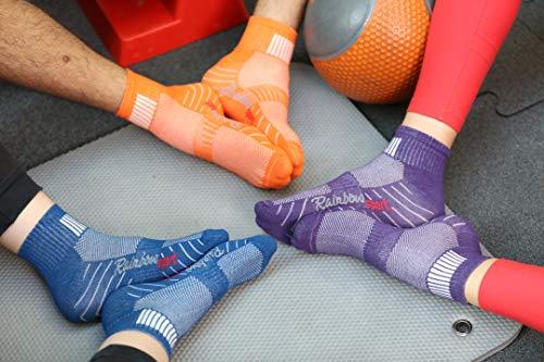 Rainbow Socks - Women Men Colourful Cotton Sneaker Sport Socks - 6 Pairs - White Purple Grey Navy Blue Black Jeans - Size 6,5-8