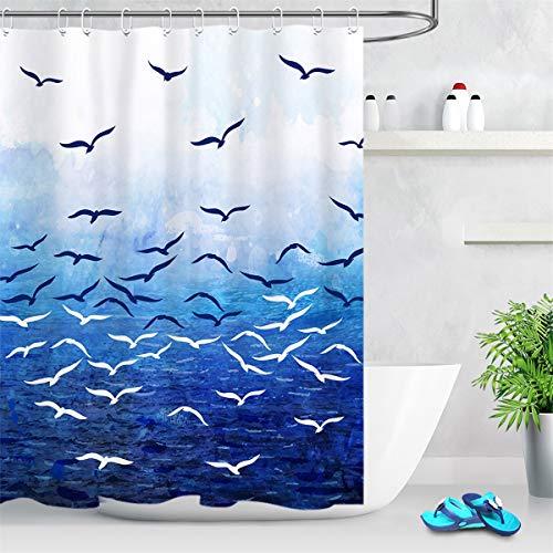 LB Duschvorhang Blaues Meer 150x180cm Möwe Bad Vorhang mit Haken Polyester Wasserdicht Antischimmel Badezimmer Vorhänge