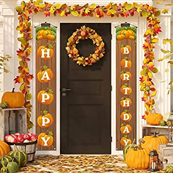 Happy Birthday Banner with Pumpkin,Rustic Fall Autumn Pumpkin Birthday Party Decoration Backdrop for Farmhouse Home