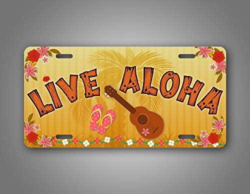 DKISEE Car License Plate Live Aloha Hawaiian License Plate Flip Flops Palm Trees Lei Flowers product image