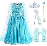 AmzBarley Vestito da Regina delle Nevi per Bambina Ragazza Costume Abito Principessa Carnevale Cosplay Festa Compleanno Partito con Capo Accessori