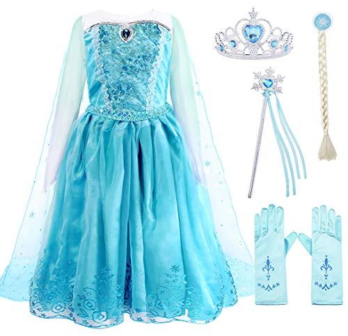 Jurebecia Disfraz Princesa Niñas Vestido de Princesa Disfraces de Nieve Fiesta de Cumpleaños Disfraces de Halloween Cosplay Edad 2-3 Años Azul