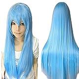 ANOGOL 32' 80cm Long Straight Hair Wigs Lolita Light Blue Cosplay Wig