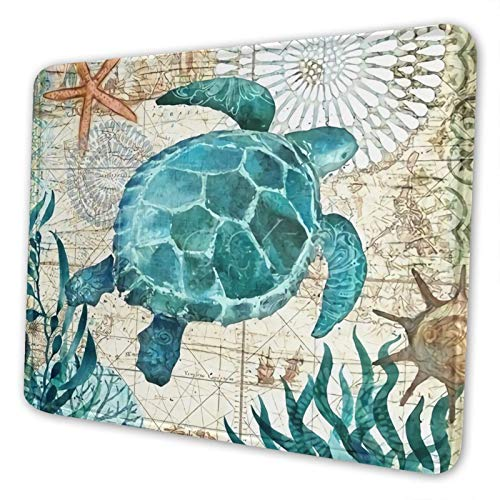 Cute Gaming Mouse Pad Marine Life Theme Sea Turtle 10x12 inch for Gamer Computer Laptop PC Office Home Rectangle Mousepad with Stitched Edges