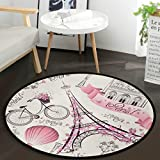 Vdsrup Eiffel Tower in Paris France Round Floor Mat France Bicycle Doormat Non Slip Absorbent Carpet Yoga Rug for Entryway Bedroom Living Room Sofa Home Decor