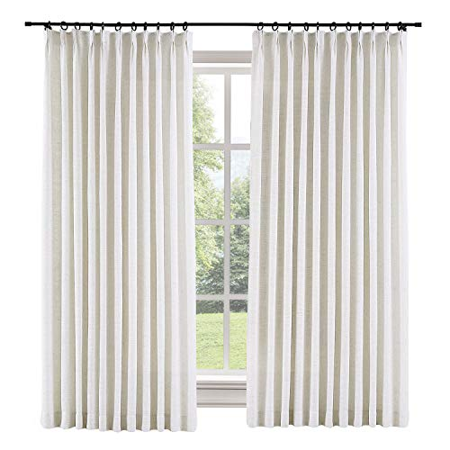 ChadMade 50' W x 84' L Polyester Linen Drapes with Thermal Blackout Lining Pinch Pleat Curtain for Sliding Door Patio Door Living Room Bedroom, (1 Panel) Beige White