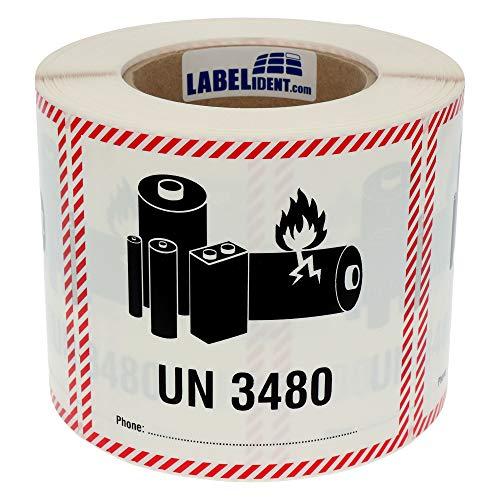 Labelident Transportaufkleber - enthält Lithium Ionen Batterien UN 3480-120 x 110 mm - 500 Verpackungskennzeichen auf 76 mm (3 Zoll) Rolle, Polyethylen selbstklebend