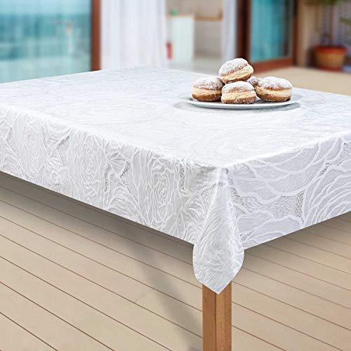 laro Wachstuch-Tischdecke Abwaschbar Garten-Tischdecke Wachstischdecke PVC Plastik-Tischdecken Eckig Meterware Wasserabweisend Abwischbar, Muster:Vinyl Weiß, Größe:130-160 cm