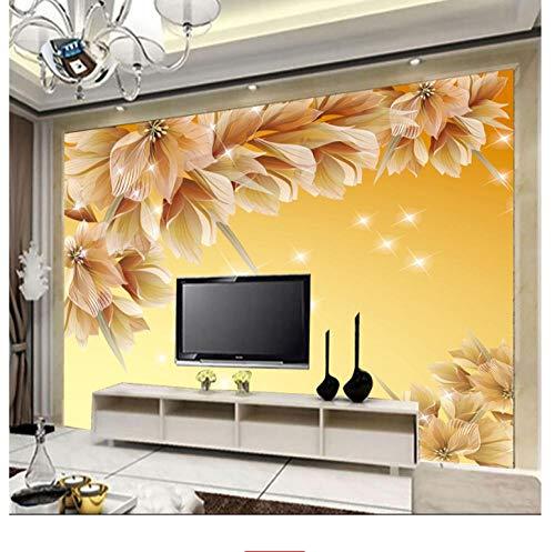 Shuangklei Dreamy Shining Flash Paper Flower Mural Mural De Pared 3D Para El Fondo De La Sala De Estar Mural Fotográfica 3D Murales 3D Fresco Decoración Para El Hogar-350X250Cm