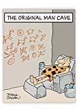Humorous 'Original Man Cave Birthday Father' Birthday Card with Envelope (Supersized 8.5 x 11 Inch) - Caveman Chilling in His Prehistoric Man Cave - Dad Bday Greeting Cards J0259BFG