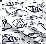 Fisch, Blau, Meer, Tiere, Weiß, Ozean, Maritim Stoffe -