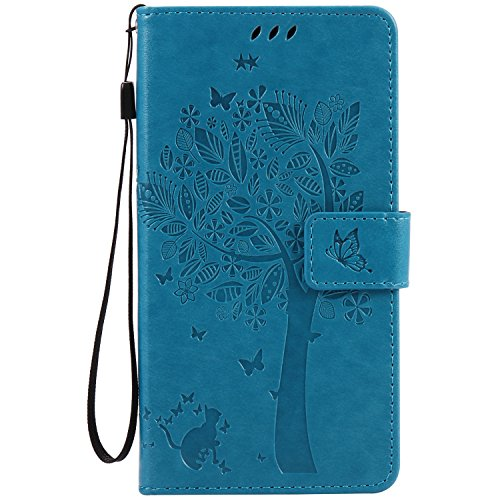 WindTeco Motorola MOTO G4 Case, Bookstyle Tree Cat Butterfly Leather Wallet Flip Case Stand Cover Magnetic Clasp with Card Slots Protective Shell for Lenovo Motorola MOTO G4, Blue