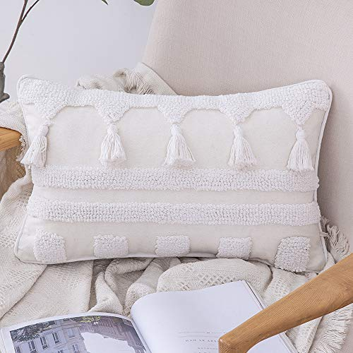 MIULEE 1 Pieza Funda de Cojín con Borlas Funda de Almohada Decoracion de Hogar Dibujo Geometrico Moderna Suave para Sofá Silla Cama Sala de Estar DormitorioHogar 30 x 50cm Blanco