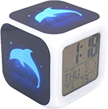 M-MU Digital Alarm Clock Blue Dolphin Creative Plastic Desk & Shelf Clock with Led Lights Multifunctional Alarm Clock for ...