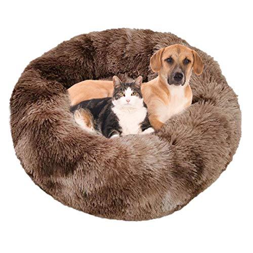 Pamura - Flauschwolke - kuscheliges Hundebett - weiches Katzenkörbchen - Flauschiges Hundesofa - Hundekissen - Kuschelbett - Hundekörbchen - flauschig - kuschelig - weich (M 60 cm, Weiss Kaffee)