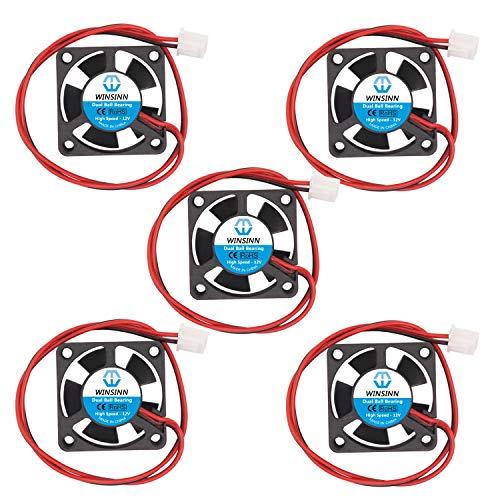 WINSINN Ventilador de 30 mm, 12 V, doble rodamiento de bolas, 3010, 30 x 10 mm, alta velocidad (paquete de 5 unidades)