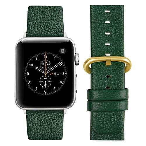 Fullmosa Cinturino per Apple Watch 38 mm/40 mm, Cinturini Pelle Compatibile con Apple Watch Serie SE 6 5 4 3 2 1, Sport, Nike+, Hermès, Edition, Verde Scuro + Fibbia Dorata Lucida