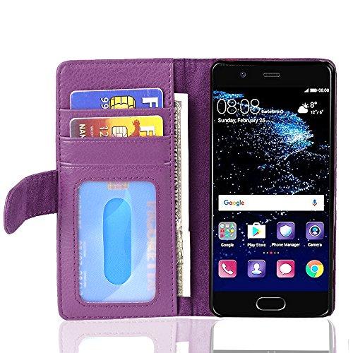 Cadorabo Funda Libro para Huawei P10 en Burdeos Violeta - Cubierta Proteccíon con Cierre Magnético e 3 Tarjeteros - Etui Case Cover Carcasa